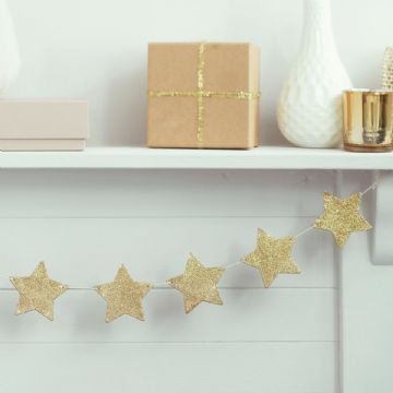 Wooden Gold Star Glitter Garland - 1.2m